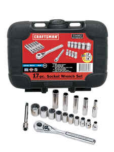 Craftsman  Easy-To-Read  1/4 in.  x 1/4 in. drive  SAE  6 Point Socket Wrench Set  17 pc.