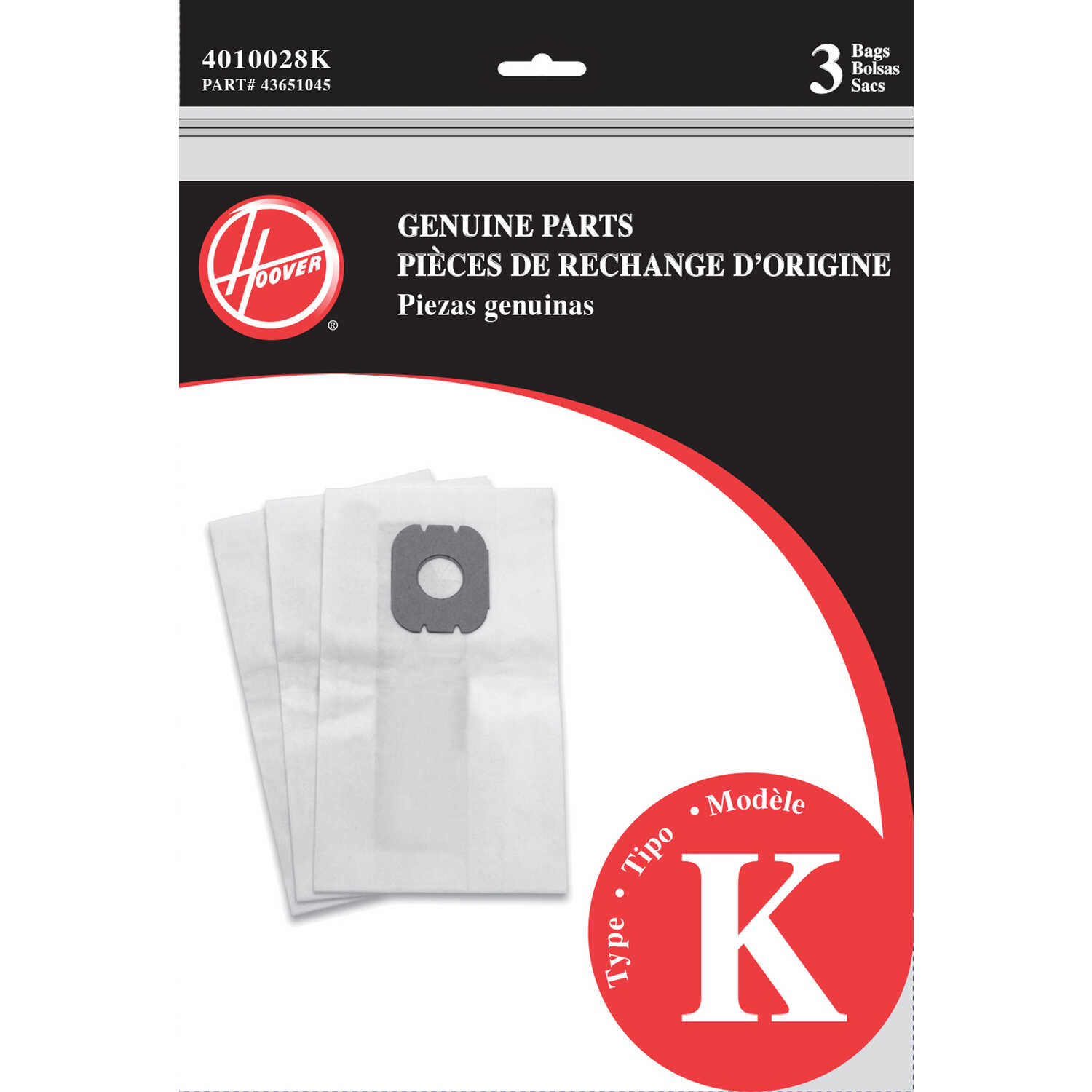 Hoover  Vacuum Bag  For All Hoover Canister cleaners using Type K bags 3 pk