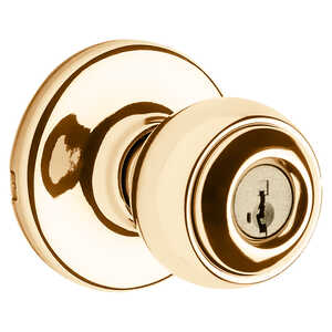 Weiser  Yukon  Polished Brass  Steel  ANSI/BHMA Grade 3  1-3/4 in. Entry Lockset
