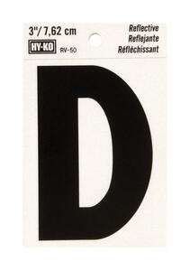 Hy-Ko  3 in. Reflective Black  Vinyl  Letter  D  Self-Adhesive  1 pc.