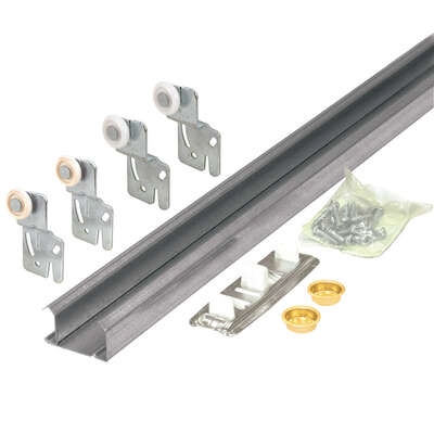 Prime-Line  Galvanized  Silver  Steel  By-Pass Door Hardware Set  1 pk