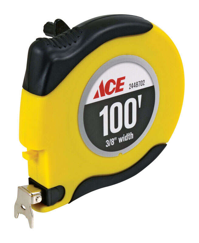 Ace  100 ft. L x 0.375 in. W Long Tape Measure  Yellow  1 pk