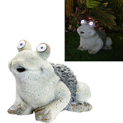 Alpine  Polyresin  Gray  12 in. H Frog  Statue