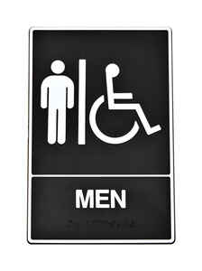 Hy-Ko  English  Men (Handicap, Braille)  Sign  Plastic  6 in. W x 9 in. H