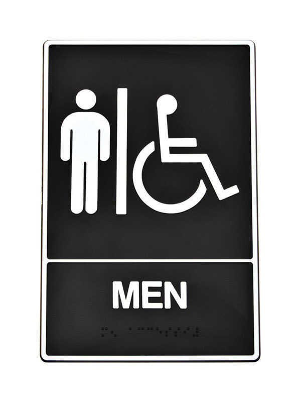 Hy-Ko  English  Men (Handicap, Braille)  Sign  Plastic  9 in. H x 6 in. W