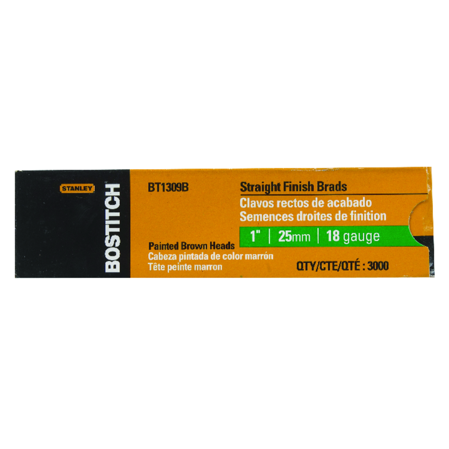 Stanley Bostitch  18 Ga. Smooth Shank  Straight Strip  Brad Nails  1 in. L x 0.1 in. Dia. 3,000 pc.