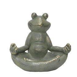 Infinity Cement Green 13.98 in. H Frog Statue