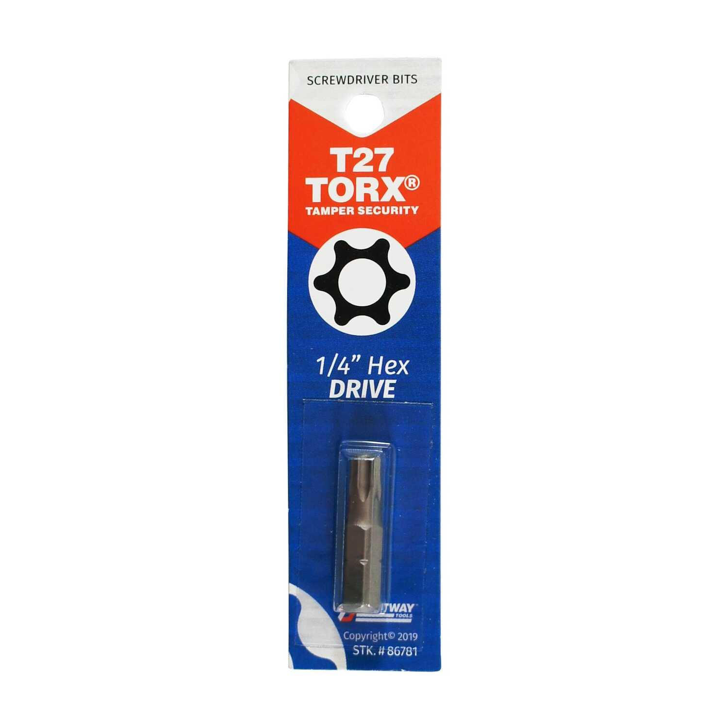 Best Way Tools  TORX  TORX Tamperproof Bit  T27   x 1 in. L Screwdriver Bit  1/4 in. Hex  1 pc.