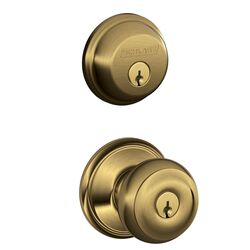 Schlage  Georgian  Antique Brass  Knob and Single Cylinder Deadbolt  ANSI Grade 2  1-3/4 in.