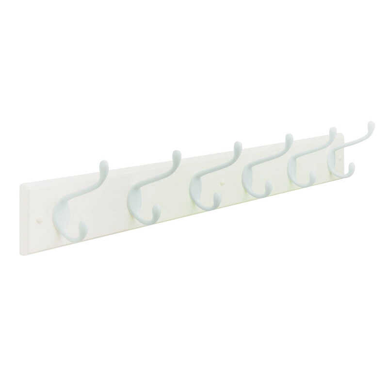 Amerock  27 in. L White  Medium  6-Hook  Rack  1 pk Fiberboard/Zinc