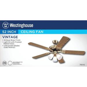 Westinghouse  Vintage  52 in. 5 blade Indoor  Antique Brass  Ceiling Fan