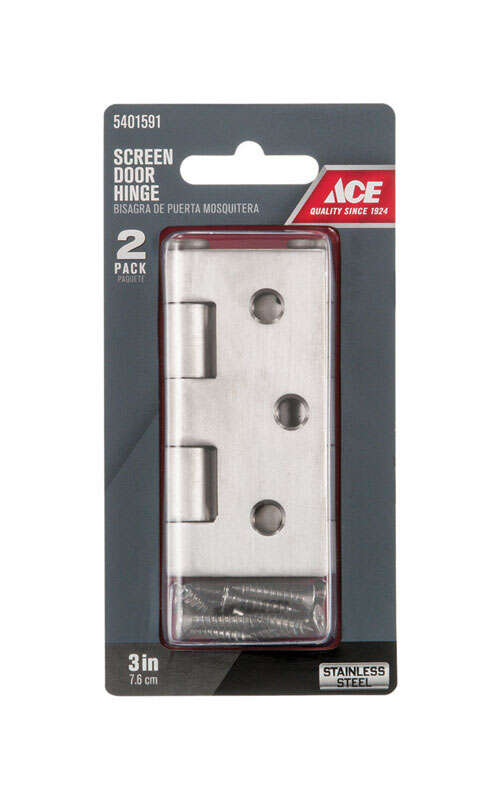 Ace  2-1/2 in. L Stainless Steel  Screen Door Hinge  2 pk Stainless Steel