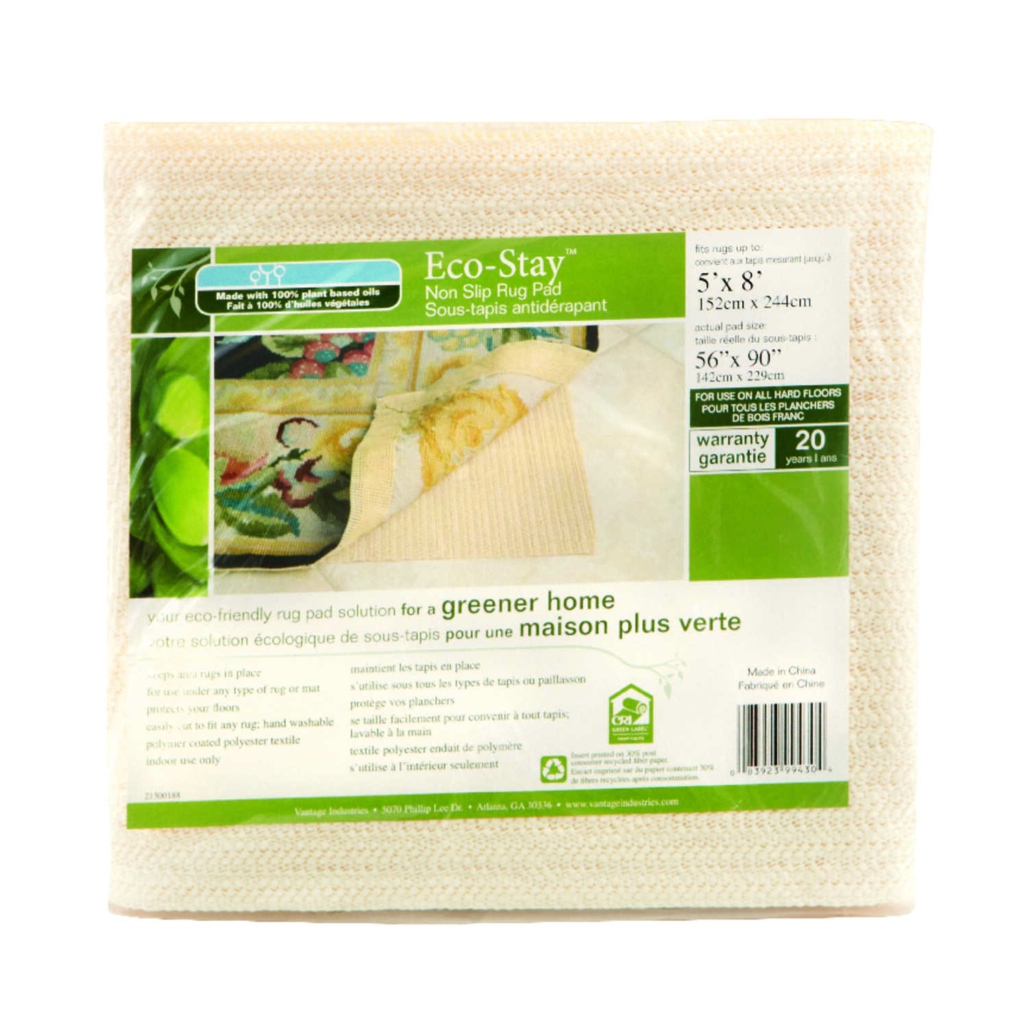 Eco Stay  5  W x 8  L Indoor  Rug Pad  Polyester 1 Pk
