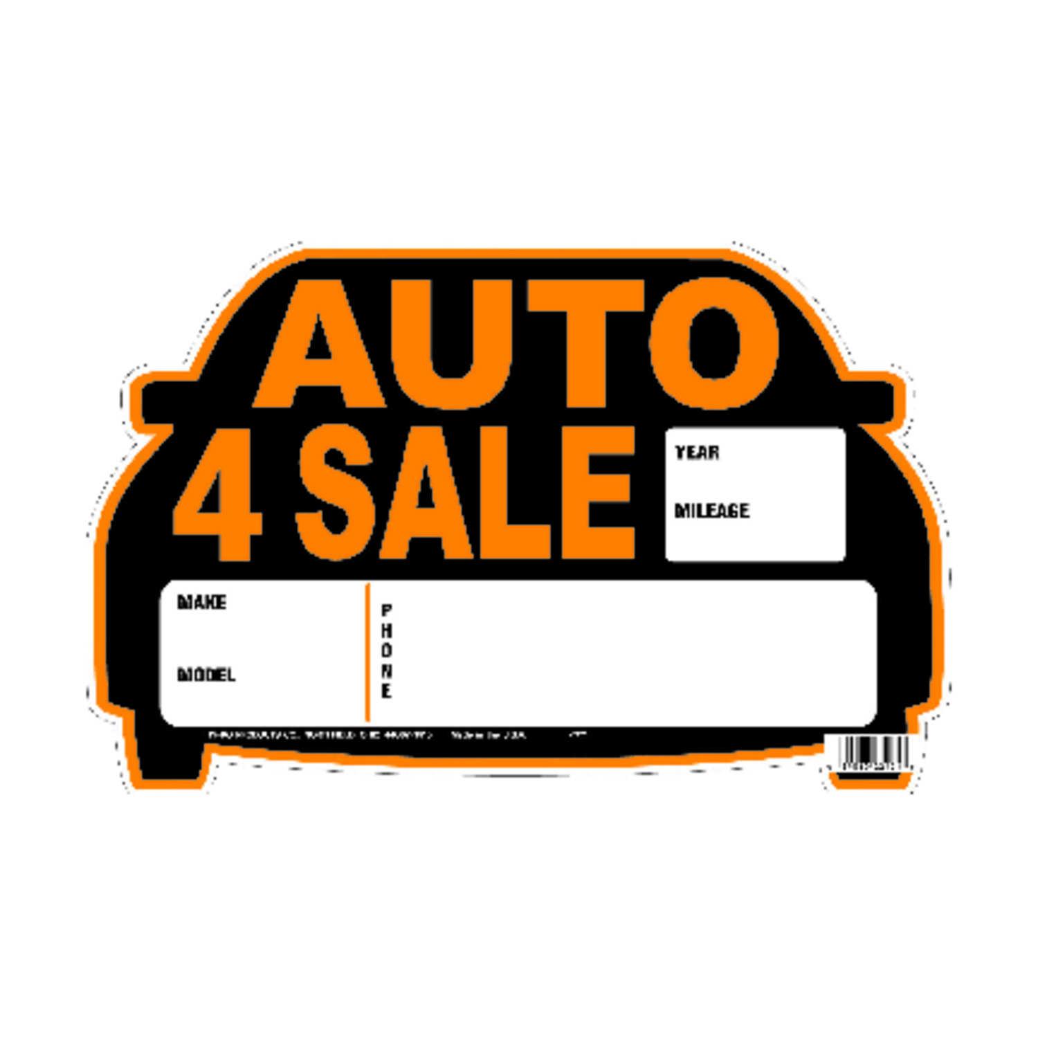 Hy-Ko  English  Auto for Sale  Sign  Polyethylene  8.5 in. H x 13 in. W