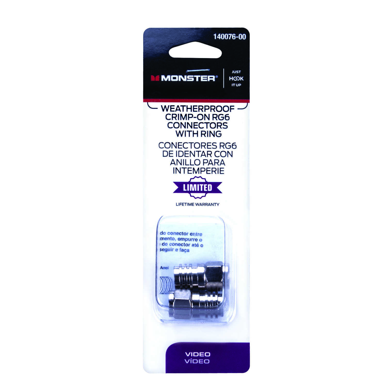 Monster Cable  Just Hook It Up  Crimp-On  RG6/U  Coaxial Connector  2 pk