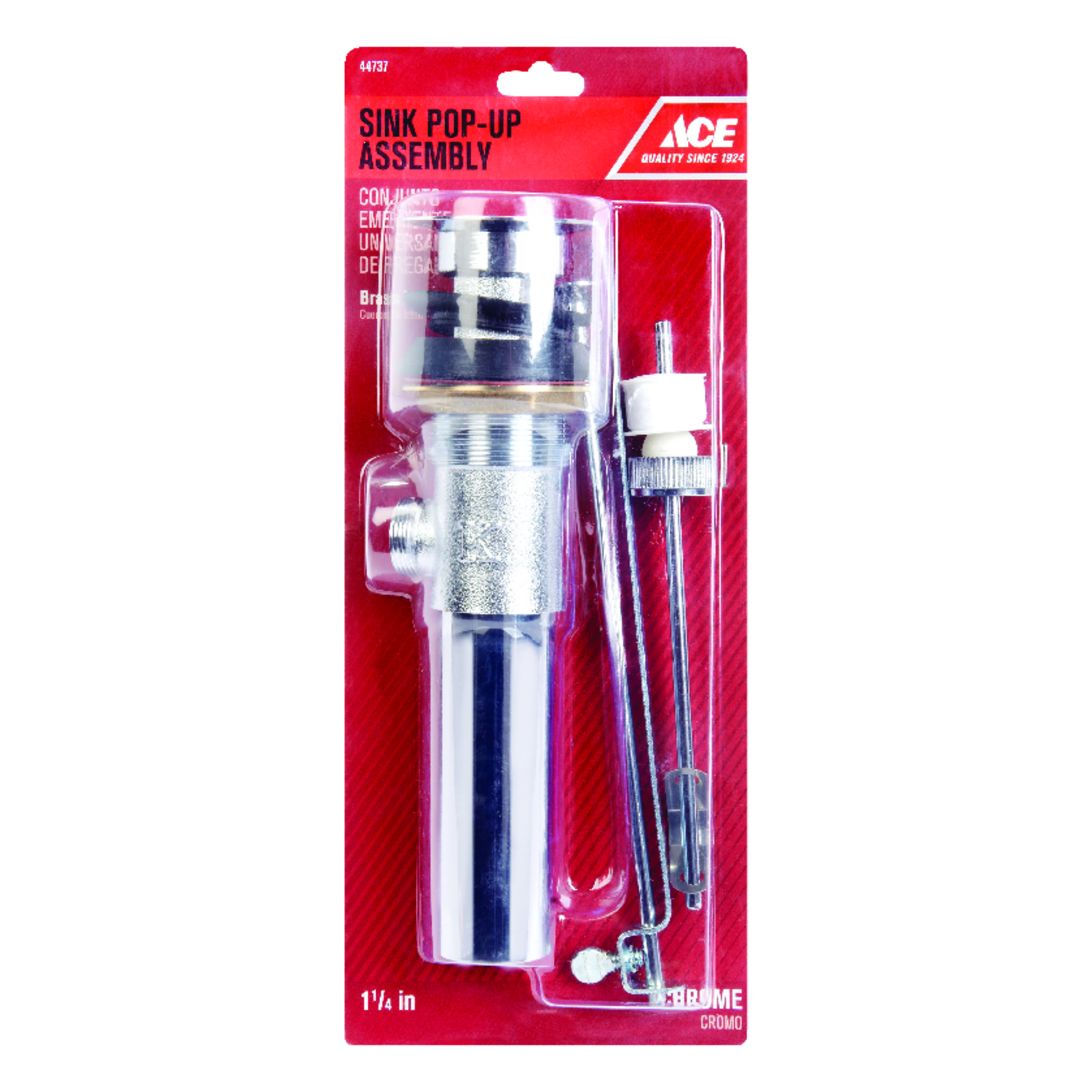 Ace  1-1/4 in. Dia. Pop-Up Drain Assembly  Polished Chrome  Chrome