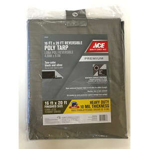 Ace  16 ft. W x 20 ft. L Heavy Duty  Polyethylene  Silver/Black  Tarp