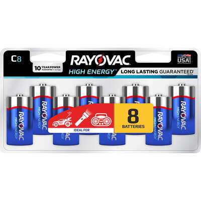 Rayovac  High Energy  C  Alkaline  Batteries  8 pk Carded
