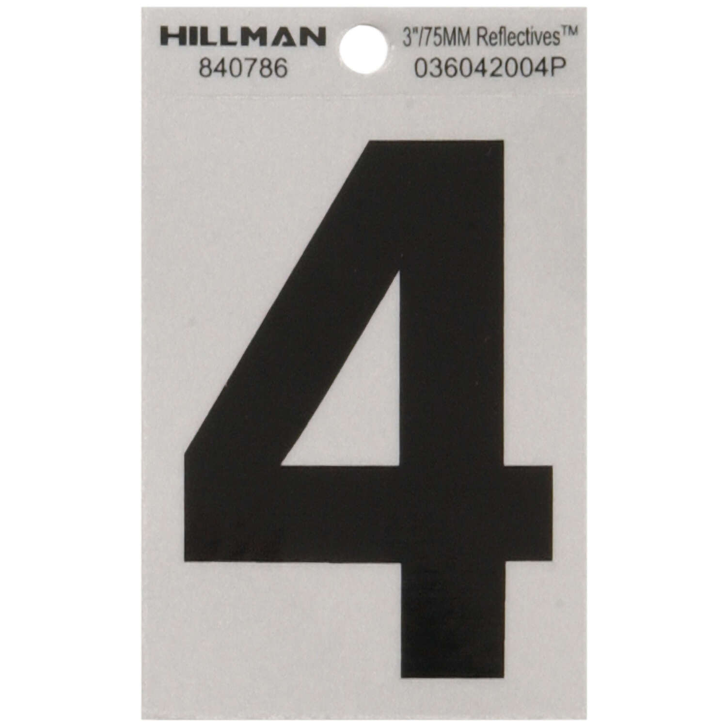 Hillman  3 in. Reflective Black  Mylar  Self-Adhesive  Number  4  1 pc.