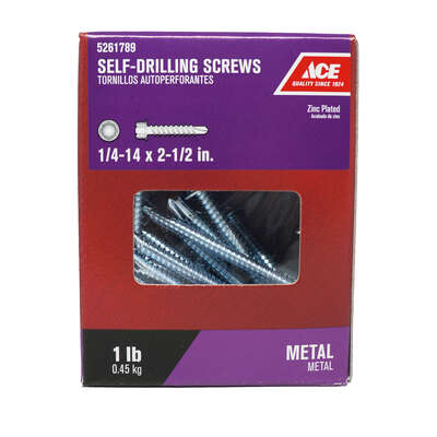 Ace  1/4-14 Sizes  x 2-1/2 in. L Hex Washer Head Zinc-Plated  Steel  Self- Drilling Screws  1 lb.