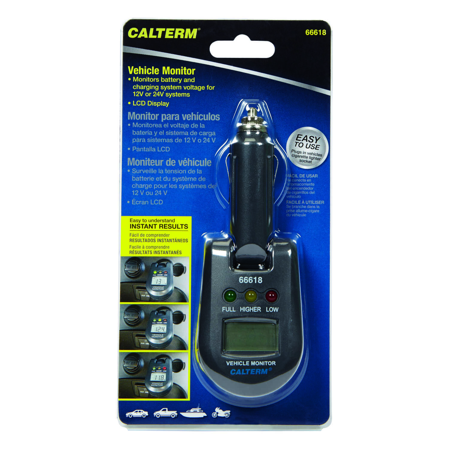 Calterm  12 / 24 Volts  LED  Battery Tester