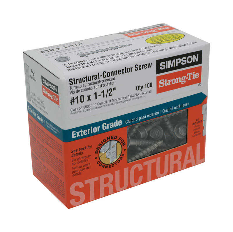 Simpson Strong-Tie  Strong-Drive  No. 10   x 1-1/2 in. L Star  Hex Head Galvanized  Steel  Connector