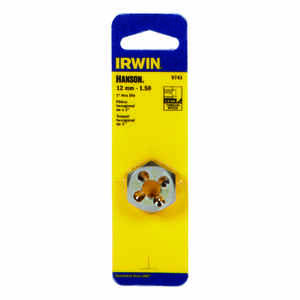Irwin  Hanson  High Carbon Steel  Metric  Hexagon Die  12mm-1.50  1 pc.