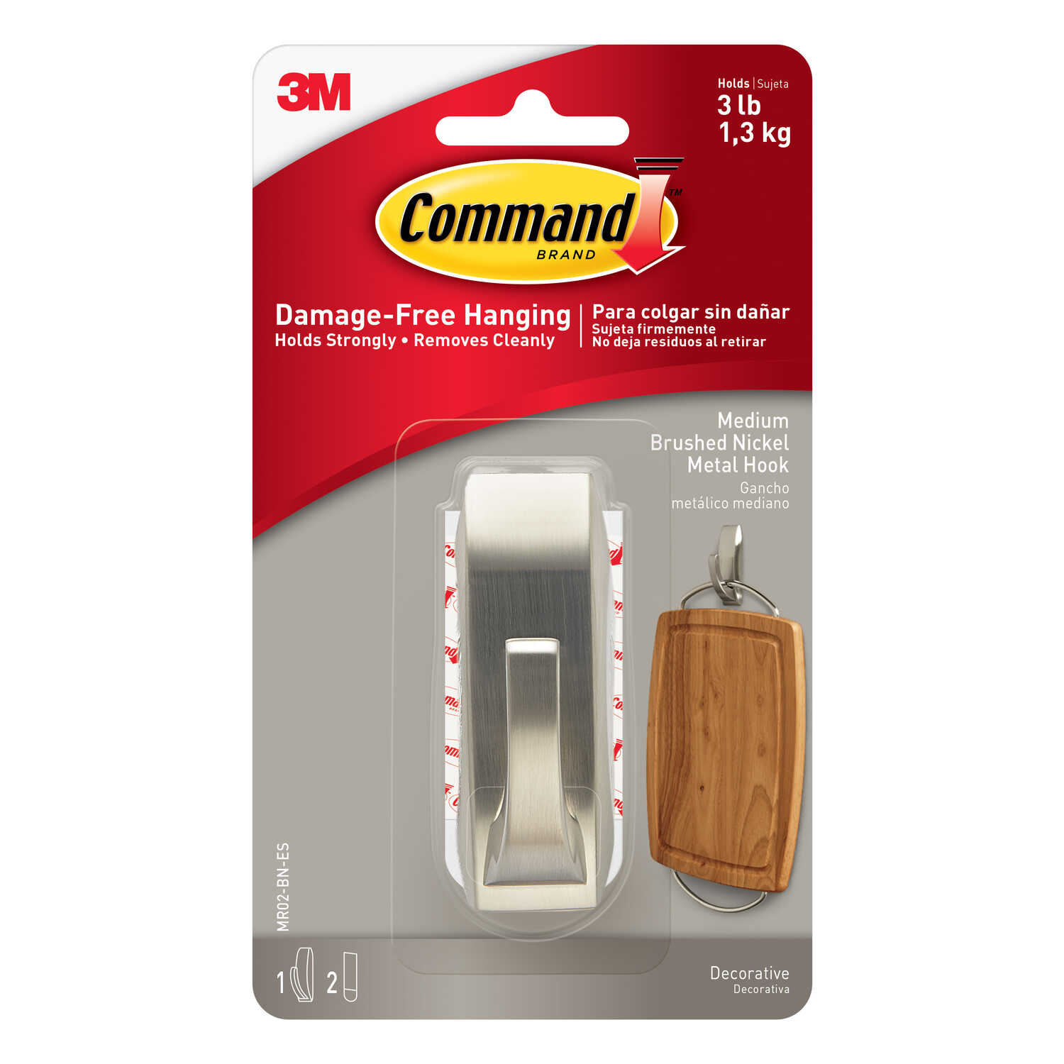 3M  Command  3-1/8 in. L Metal  Medium  Modern Reflections Bath  Coat/Hat Hook  3 lb. capacity 1 pk
