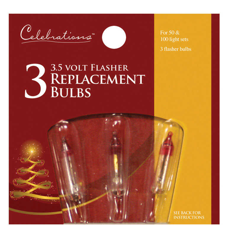 Celebrations  Incandescent  Flasher  Christmas Light Bulbs  Clear  3 pk