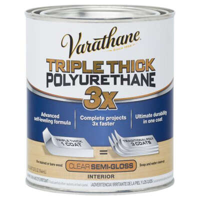 Varathane  Semi-Gloss  Clear  Triple Thick Polyurethane  1 qt.