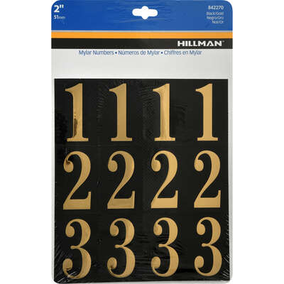 Hillman  2 in. Gold  Mylar  Self-Adhesive  Number Set  0-9  32 pc.
