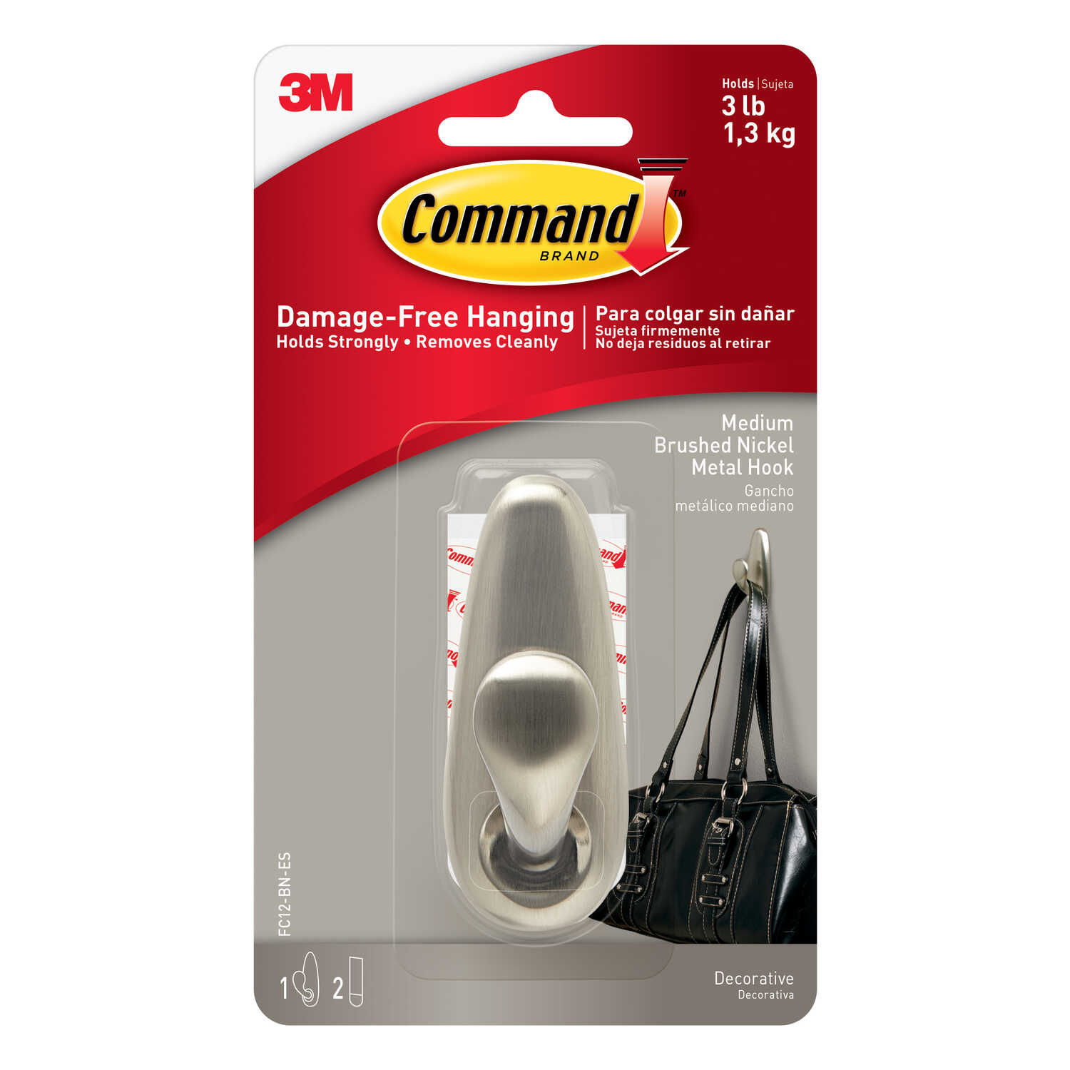 3M  Command  3-1/4 in. L Metal  Medium  Forever Classic  Coat/Hat Hook  3 lb. capacity 1 pk Brushed