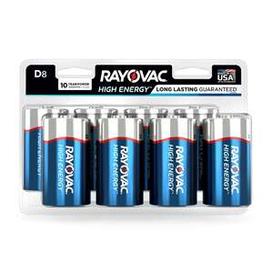 Rayovac  D  Alkaline  Batteries  1.5 volts Carded  8 pk
