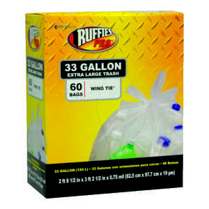 Ruffies  Pro  33 gal. Trash Bags  Wing Ties  60 pk