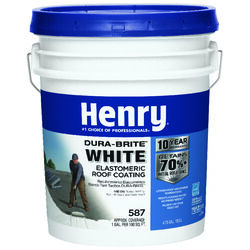 Henry  Smooth  White  Elastomeric  Roof Coating  4-3/4 gal.