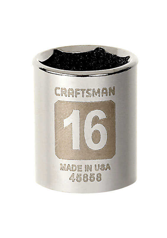 Craftsman  16 mm  x 3/8 in. drive  Metric  6 Point Standard  Socket  1 pc.