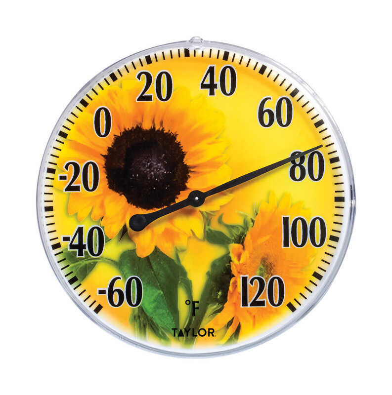 Taylor  Sunflower  Dial Thermometer  Yellow  Plastic