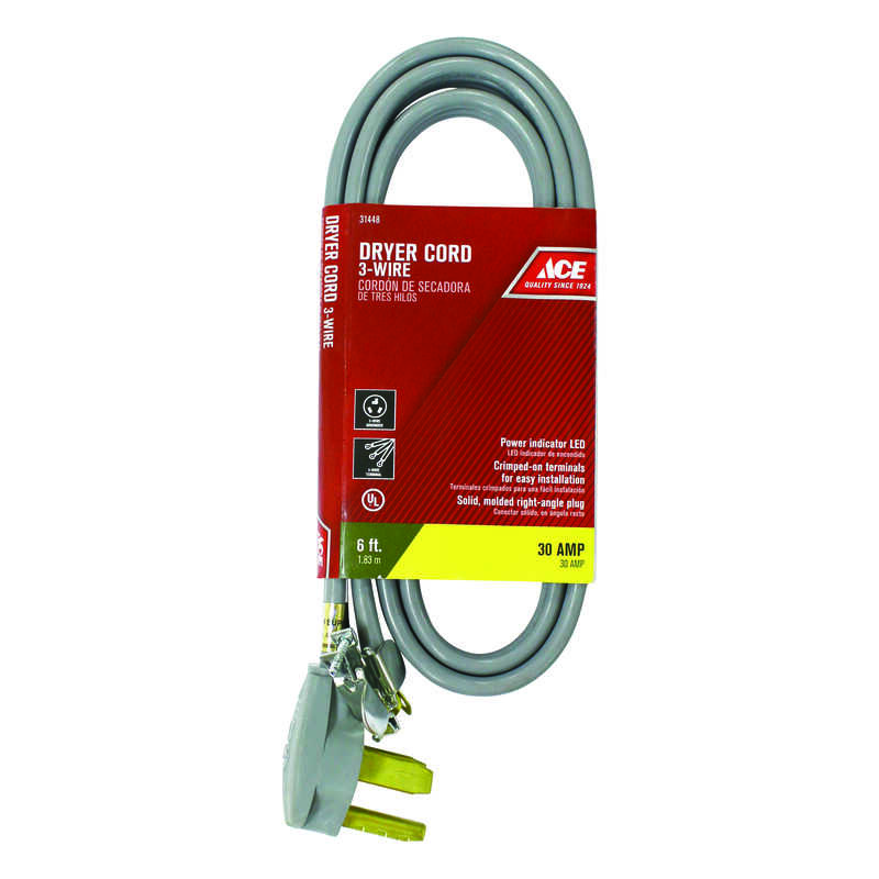 Ace 10/3 SRDT 6 ft. L Dryer Cord 3 Wire - Ace Hardware
