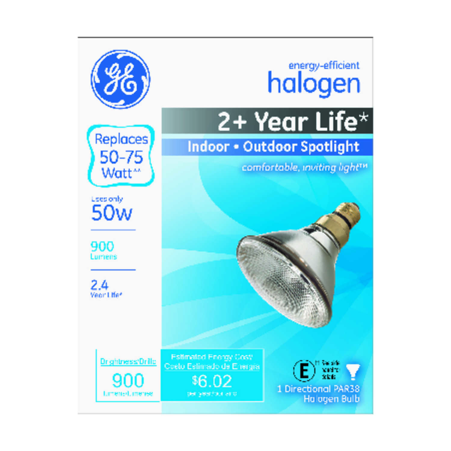 GE Lighting  50 watts PAR38  Halogen Bulb  900 lumens White  Medium Base (E26)  Spotlight  1 pk