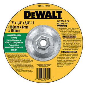 DeWalt  7 in. Dia. x 1/4 in. thick  x 5/8 in.   Aluminum Oxide  Masonry Grinding Wheel  8700 rpm 1 p