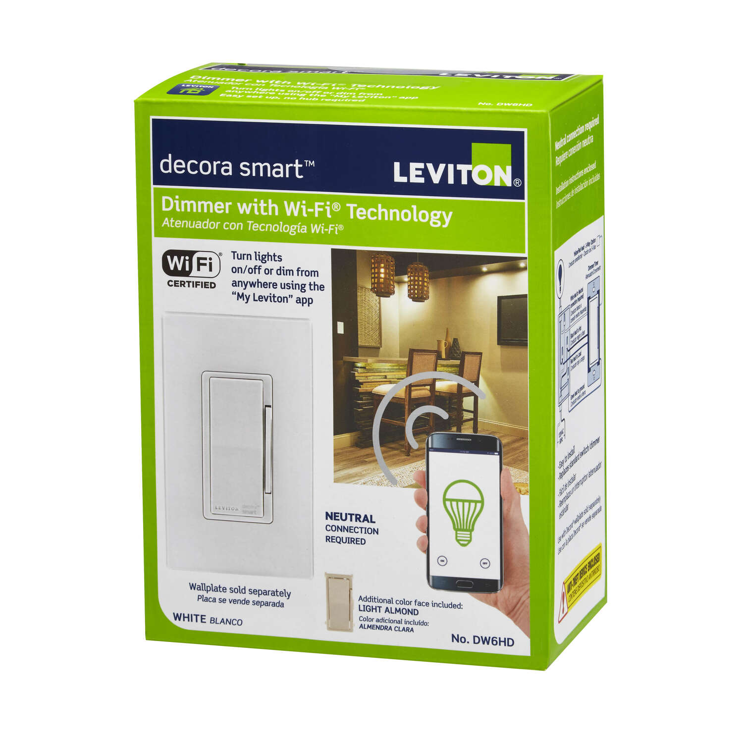 Leviton Decora Smart Almond & White WiFi Smart Dimmer Switch 1 pk ...