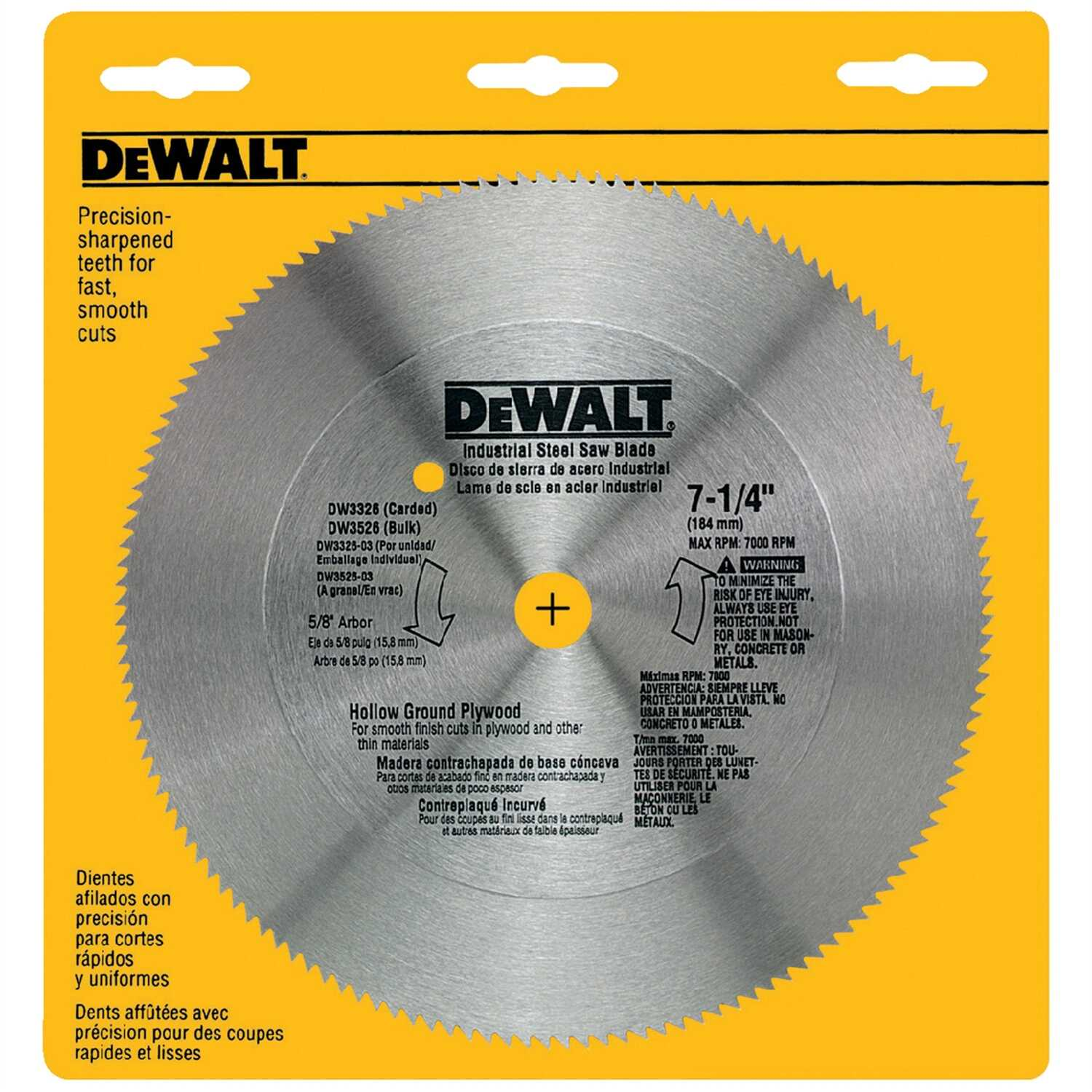 DeWalt  7-1/4 in. Dia. x 5/8 in.  Steel  Circular Saw Blade  140 teeth 1 pk