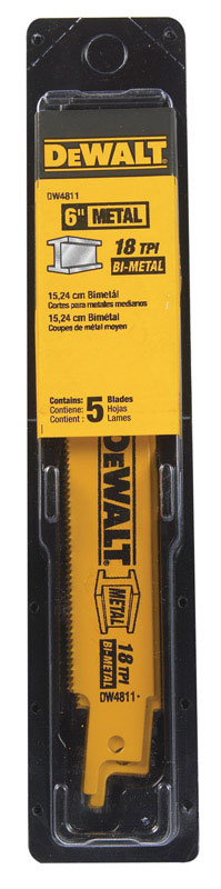 DeWalt  6 in. L x 3/4 in. W Bi-Metal  18 TPI 5 pk Reciprocating Saw Blade