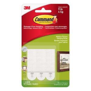 3M  Command  White  Picture Hanging Strips  6 pk Foam