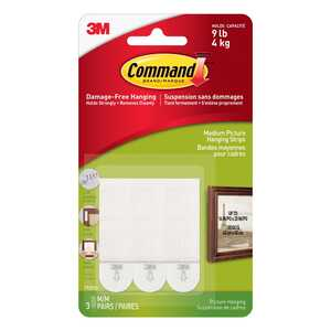 3M  Command  Medium  White  Picture Hanging Strips  Picture Hanging  3 lb. per Set  9 lb. 6 pk Foam