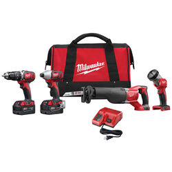 Milwaukee  M18  18 volt 3 amps Cordless  Brushed  4 tool Combo Kit