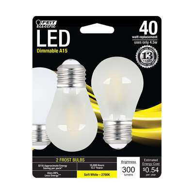 Feit Electric  A15  E26 (Medium)  LED Bulb  Soft White  40 Watt Equivalence 2 pk