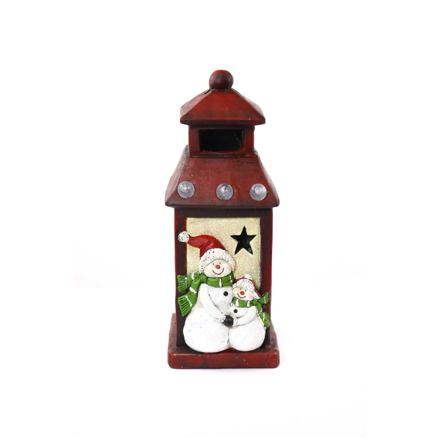 Alpine  LED Snowman Lantern  Christmas Decoration  Polyresin  1 pk