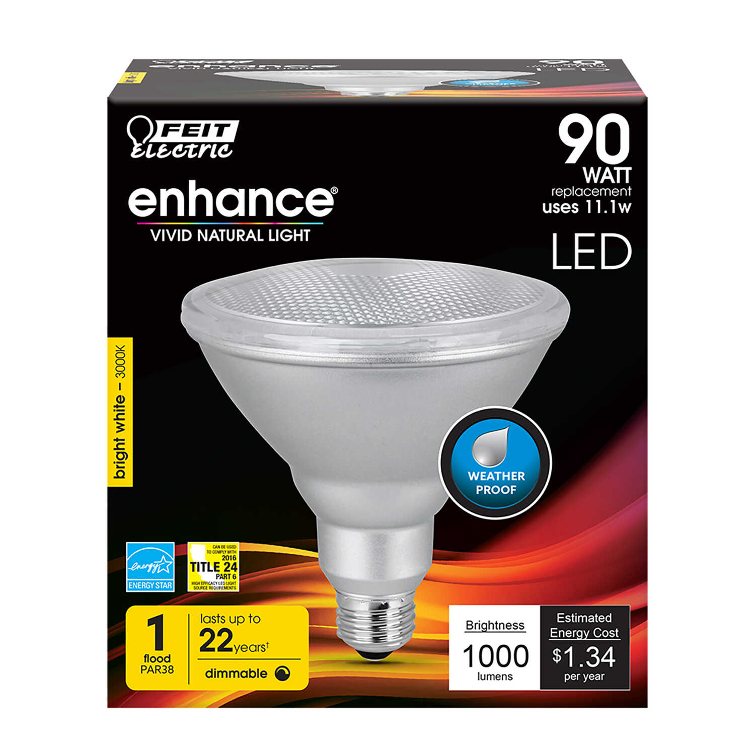 FEIT Electric  11.1 watts PAR38  LED Bulb  Soft White  Floodlight  90 Watt Equivalence 1000 linear m