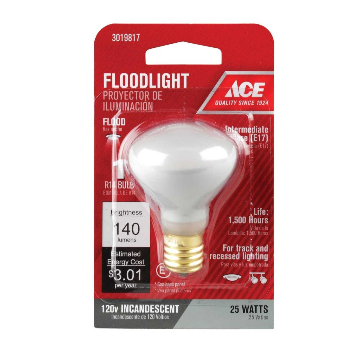 Ace  25 watts R14  Incandescent Light Bulb  E17  140  Soft White  1 pk Floodlight
